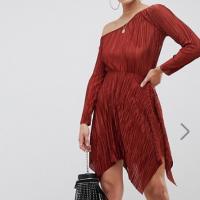 ASOS-One-Shoulder-Mini-Plisse-Asymmetrical-Dress