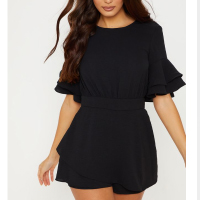 Pretty-Little-Thing-Black-Frill-Sleeve-Playsuit