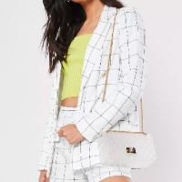 Missguided-White-Check-Co-Ord-Linen-Look-Tailored-Blazer