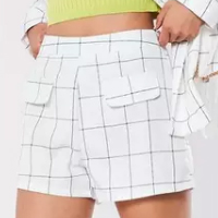 Missguided-White-Check-Co-Ord-Linen-Look-Tailored-Shorts