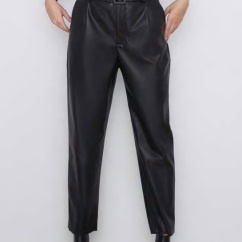 Zara FAUX LEATHER TROUSERS WITH BELT
